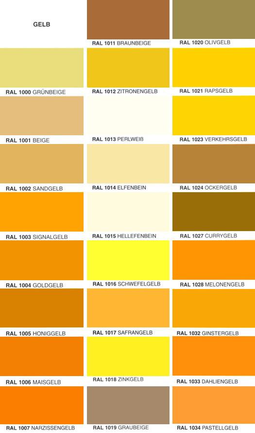 Gelb Brauner Farbton Ral Farben Tabelle Related Keywords